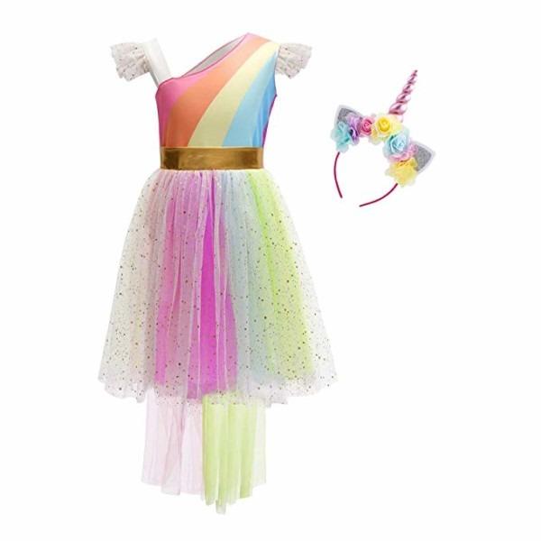 Amazon Com  Girls Rainbow Unicorn Birthday Dress Up Sequins Ruffle