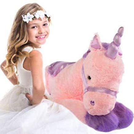 "Amazon Com  Glitzy 39"" Jumbo Plush Pink Unicorn Giant Stuffed"