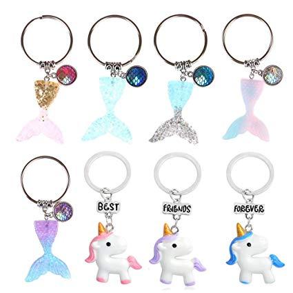 Amazon Com  Iyshougong 8 Pcs Mermaid Tail Scales Keychain Unicorn