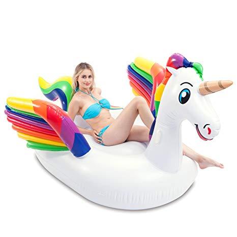 Amazon Com  Joyin Giant Inflatable Unicorn Pool Float With Wings