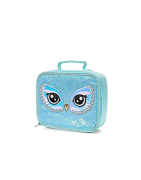 Justice Girl/'s Initial /'D/' Sequin UNICORN Lunch Tote Lunch Box NWT