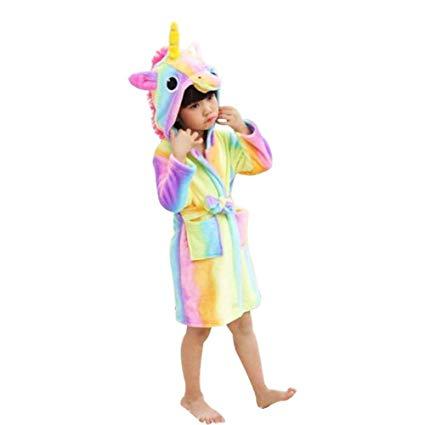 Amazon Com  Kids Soft Bathrobe Unicorn Fleece Hoodies Sleepwear