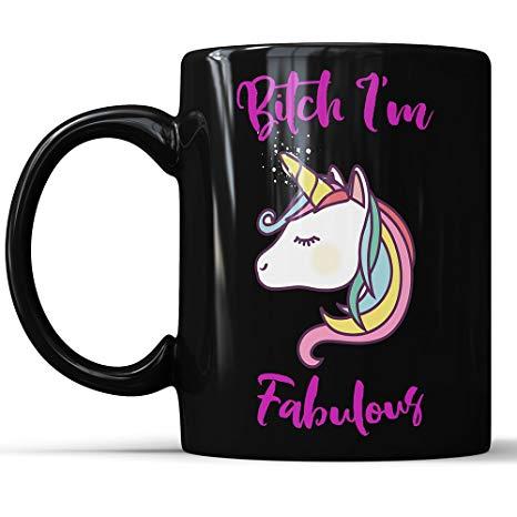 Amazon Com  Mature Coffee Mug Black Unicorn Mug Bitch I'm Fabulous