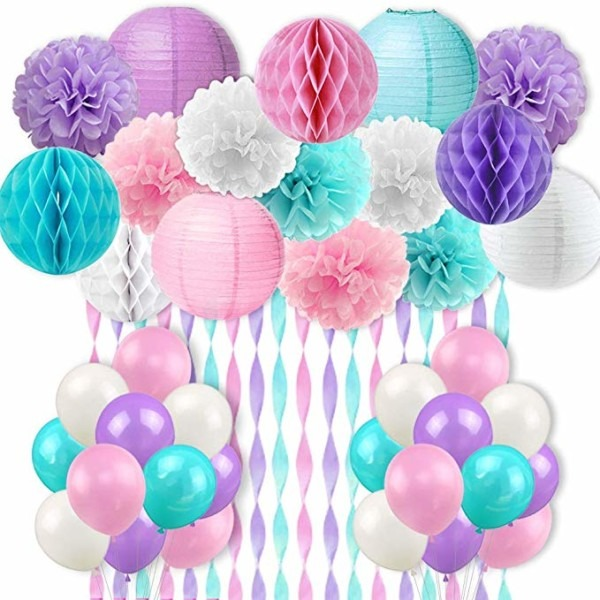 Amazon Com  Mermaid Unicorn Party Decorations Pink Purple White