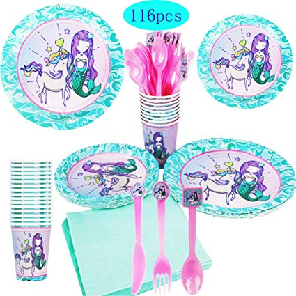 Amazon Com  Mermaid Unicorn Party Supplies, Serve 16 Party Plates