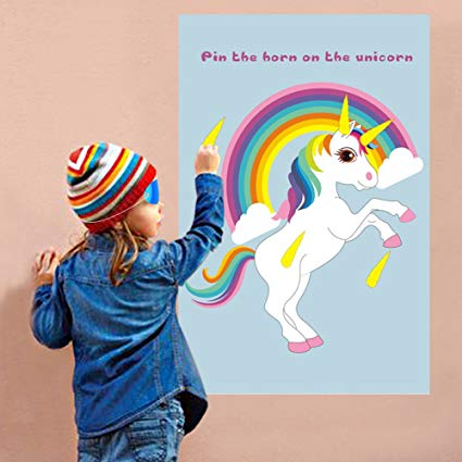Amazon Com  Ourwarm Pin The Horn On The Unicorn Party Favor Game