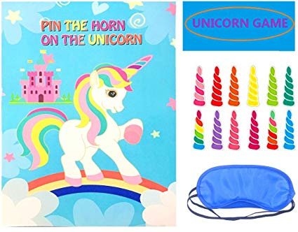 Amazon Com  Pin The Horn On The Unicorn Party Game For Kids