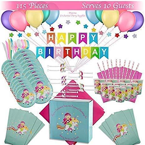 Amazon Com  Premium Magical Unicorn Mermaid Birthday Party