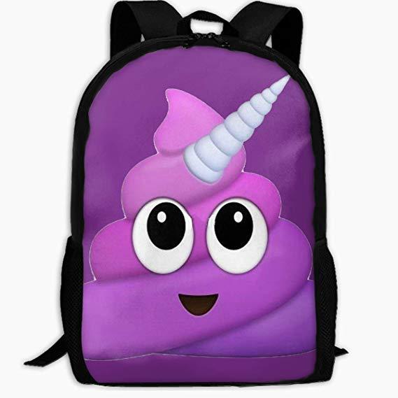 Amazon Com  Purple Unicorn Poop Emoji Backpack Waterproof