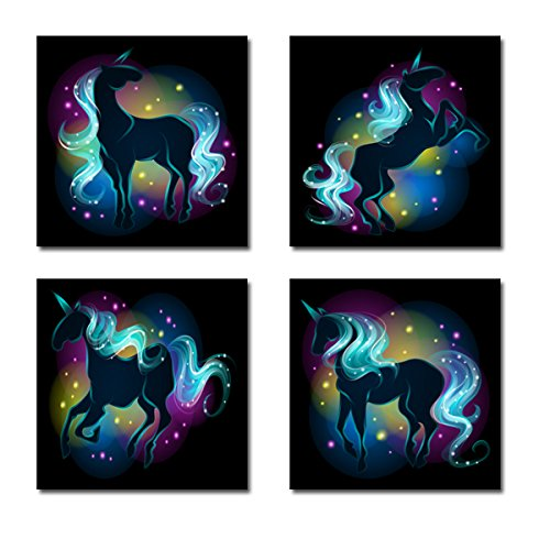 Amazon Com  Rainbow Unicorn Canvas Wall Art Set Of 4  Handmade