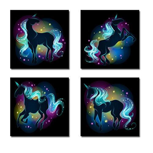 Amazon Com  Rainbow Unicorn Canvas Wall Art Set Of 4  Handmade