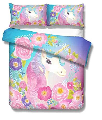 Amazon Com  Sdiii 3pc Unicorn Bedding Sets Cute Girl Pink Full