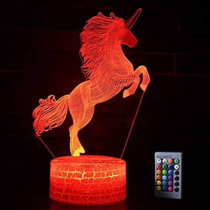 Amazon Com  Shellvcase 3d Unicorn Night Light Bedside Table Lamp 7