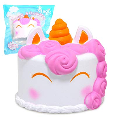 Amazon Com  Sqhoho Jumbo Squishy Cute Unicorn Mousse Cake