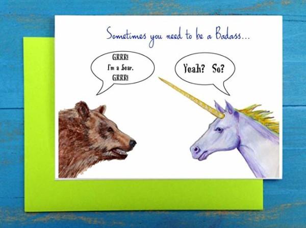 Amazon Com  That Card With The Badass Unicorn And Bear  Handmade