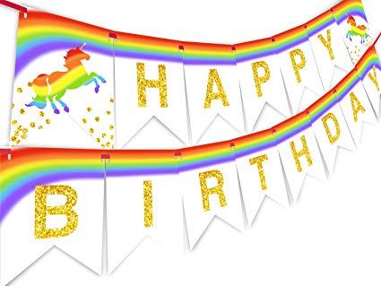 Amazon Com  Unicorn Brights Rainbow Happy Birthday Banner Pennant