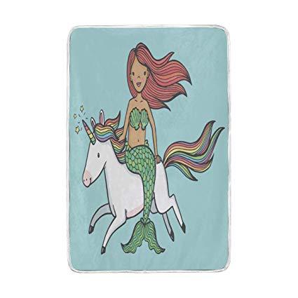 Amazon Com  Wamika Mermaid Unicorn Blanket 60 X 90 In, Warm Fuzzy