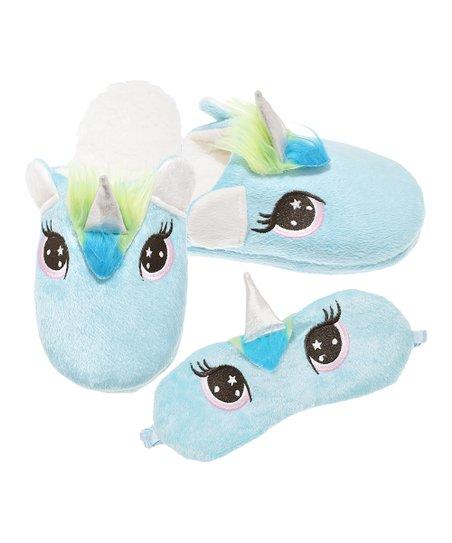 Angelina Blue Unicorn Slipper & Eye Mask