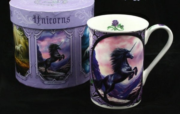 Anne Stokes Bone China Mug  Black Unicorn Coffee Cup