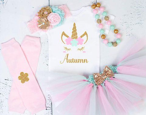 Baby Girls First Birthday Unicorn Gold Pink Tutu Outfit Set With