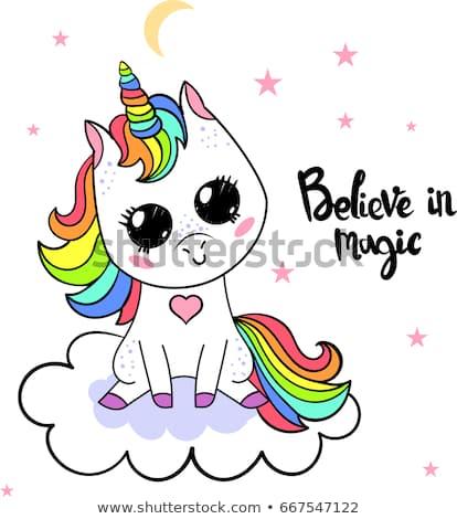 Believe Magic Cute Cartoon Unicorn Stock Vector (royalty Free