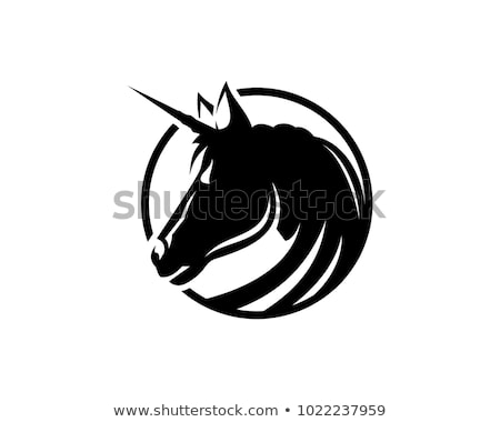 Black Unicorn Head Illustration Symbol Logo Stock Vector (royalty