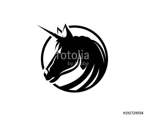 Black Unicorn Head Illustration Symbol Logo Vector  Stock Image