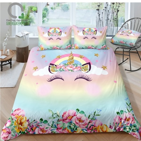 Bomcom 3d Digital Printing Unicorn Bedding Sets For Birthday Party