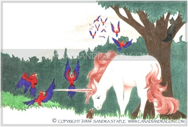Canadian Dragon Fantasy Art  Original Unicorn Children's Book