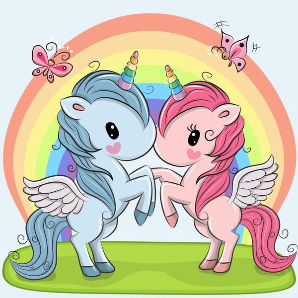 Cartoon Unicorns Cute Vectors 12 Free Download