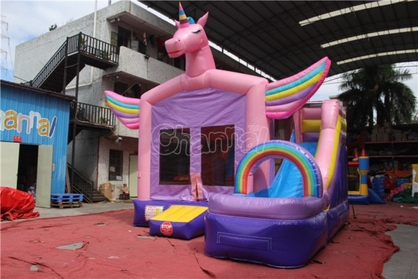 China Unicorn Inflatable Bouncy Castle Combo With Water Slide