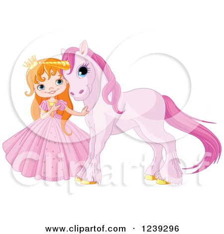 Clipart Of A Red Haired Princess Girl With A Cute Purple Unicorn