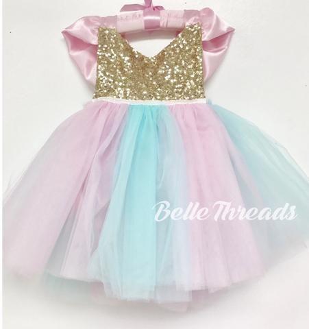 Cotton Candy Unicorn Tutu Dress Tutu Sparkle Romper