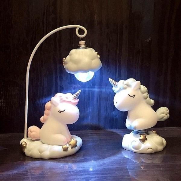 Cute Cartoon Led Night Light Home Decor Light Resin Unicorn Light