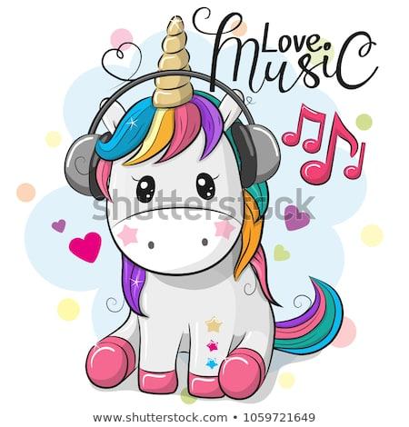 Cute Cartoon Unicorn Headphones On Blue Stock Vector (royalty Free