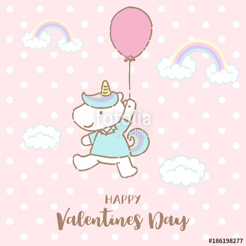 Cute Unicorn Holding Balloon With Text Happy Valentines Day