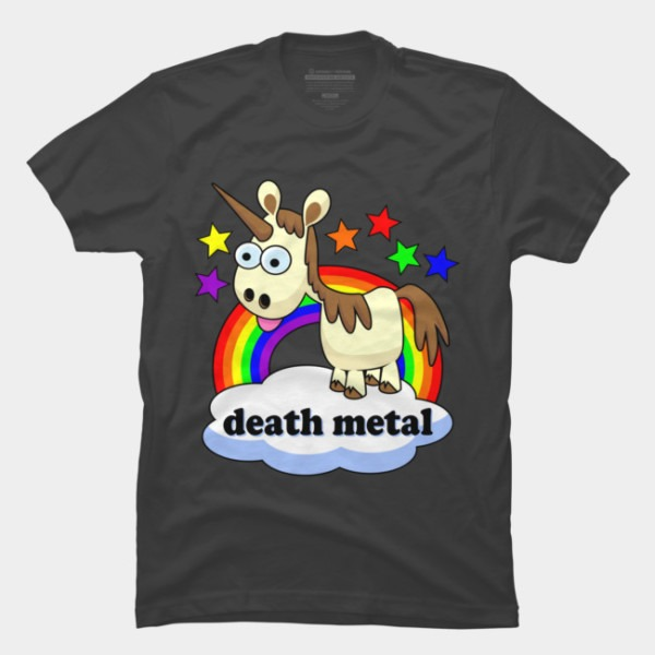 Death Metal Unicorn T Shirt By Davestees Design By Humans