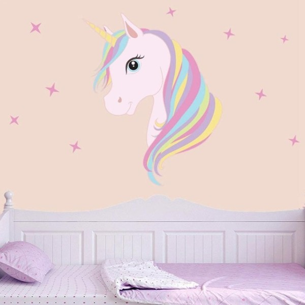 Diy Colorful Animals Horse Stars Wall Decals Unicorn Wall Stickers