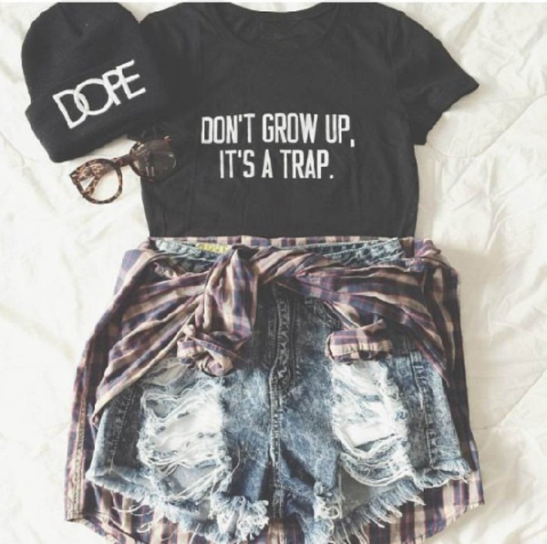 Don't Grow Up It's A Trap Tumblr Shirts Women Cute T Shirt