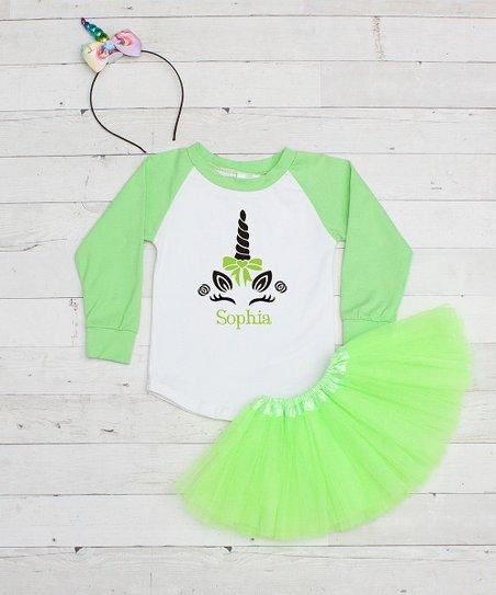 Dress Up Dreams Boutique Lime & White Sparkle Unicorn Personalized