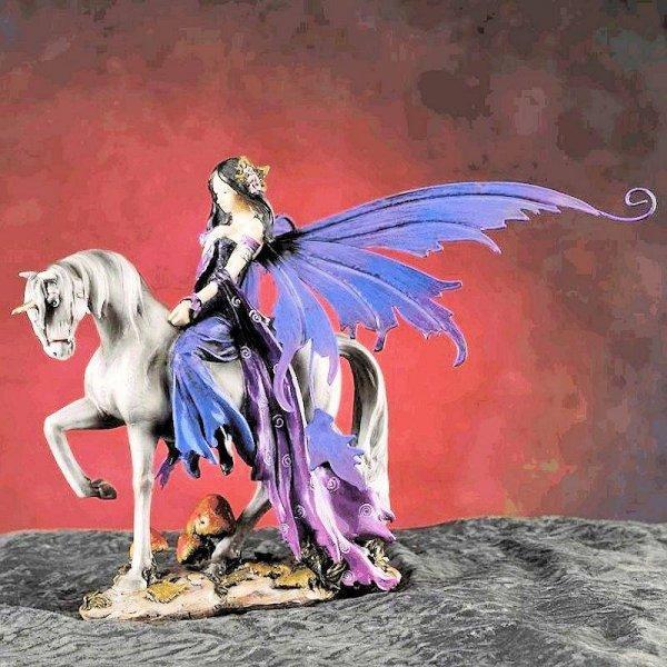 Fairy Figurine Silver Unicorn With Rider