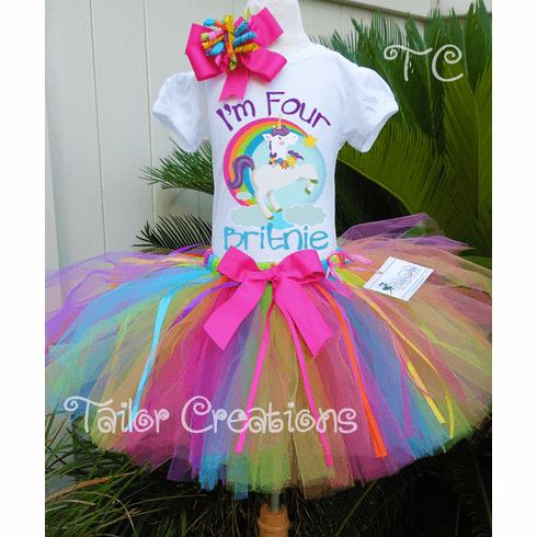 Fairytale Unicorn Rainbow Personalized Tutu Set