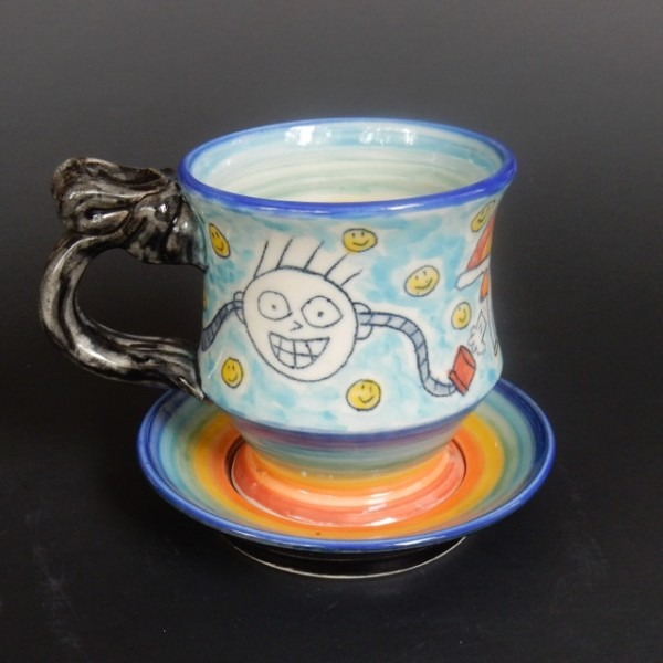 Farting Unicorn & Rainbow Cup And Saucer