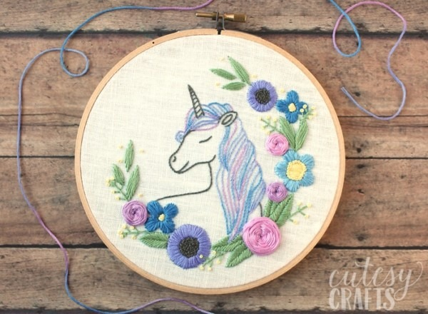 Floral Unicorn Embroidery Pattern
