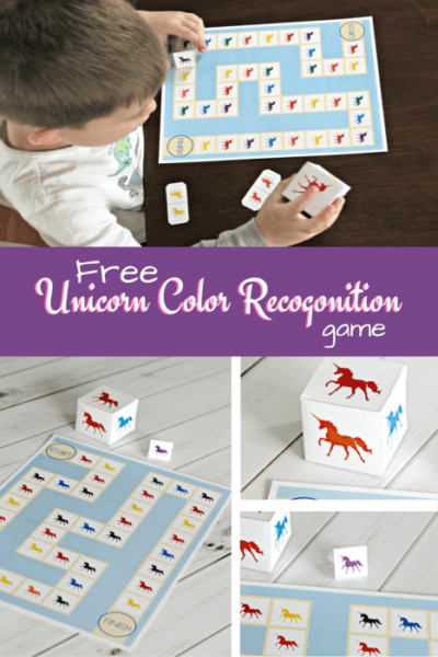 Free Printable Unicorn Color Recognition Board Game
