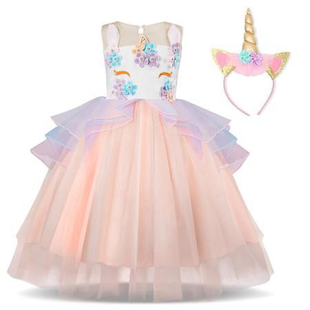 Girls Unicorn Party Dresses Sleeveless