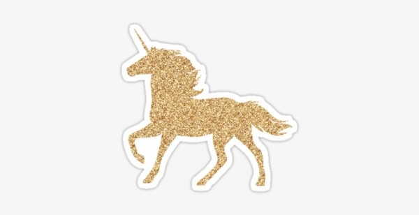 Glitter Gold Unicorn   Stickers By Customsbyt Redbubble