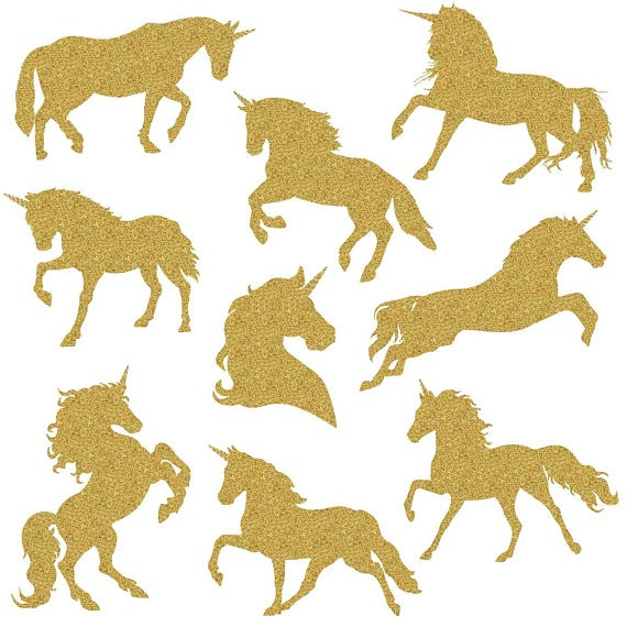 Gold Glitter Unicorn, Magical Unicorns, Unicorn Silhouette