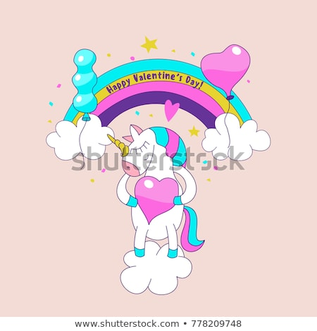 Greeting Card Happy Valentines Day Unicorn Stock Vector (royalty