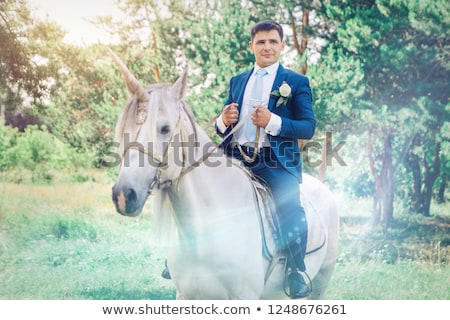 Groom Riding Unicorn Man Suit Riding Stock Photo (edit Now